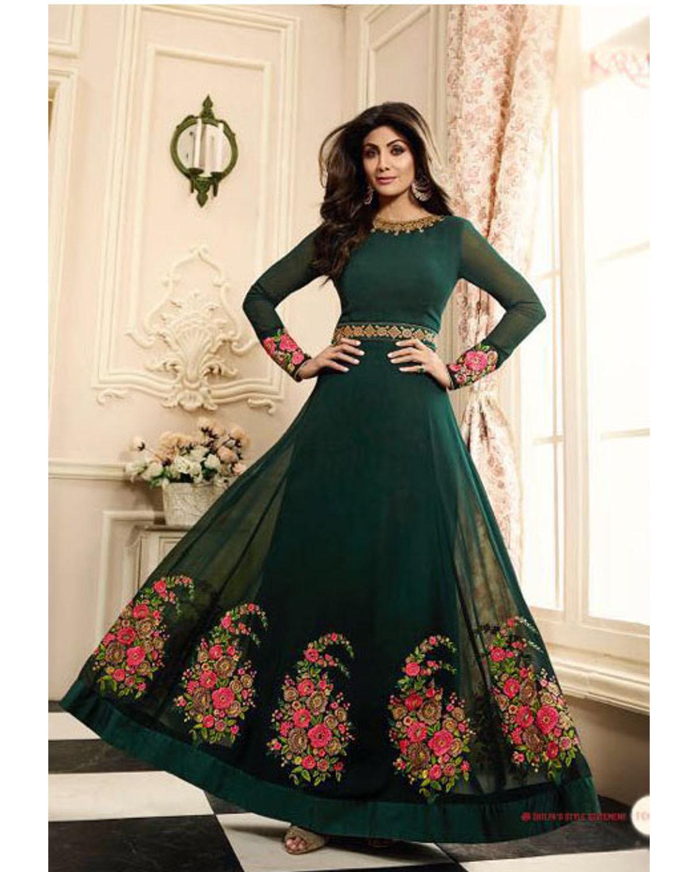 Shilpa Shetty In Dark Green Long Anarkali   Deesshipla01   Dees Alley