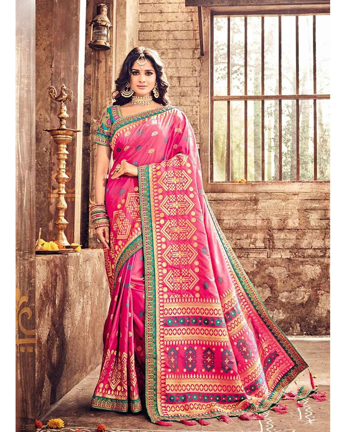 Banarasi Silk Wedding Saree With Meenakari Weave In Pink