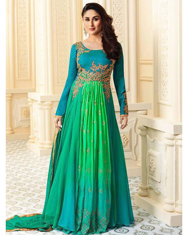 Kareena Kapoor Blue Green Georgette Anarkali Gown Suit ...