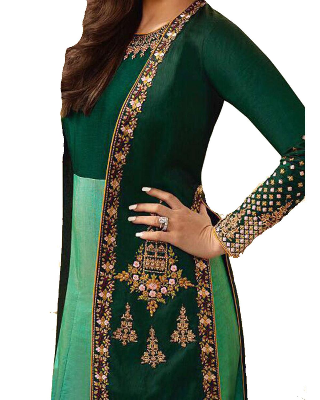 Buy Kareena Kapoor Dark Green Raw Silk Anarkali Gown Suit