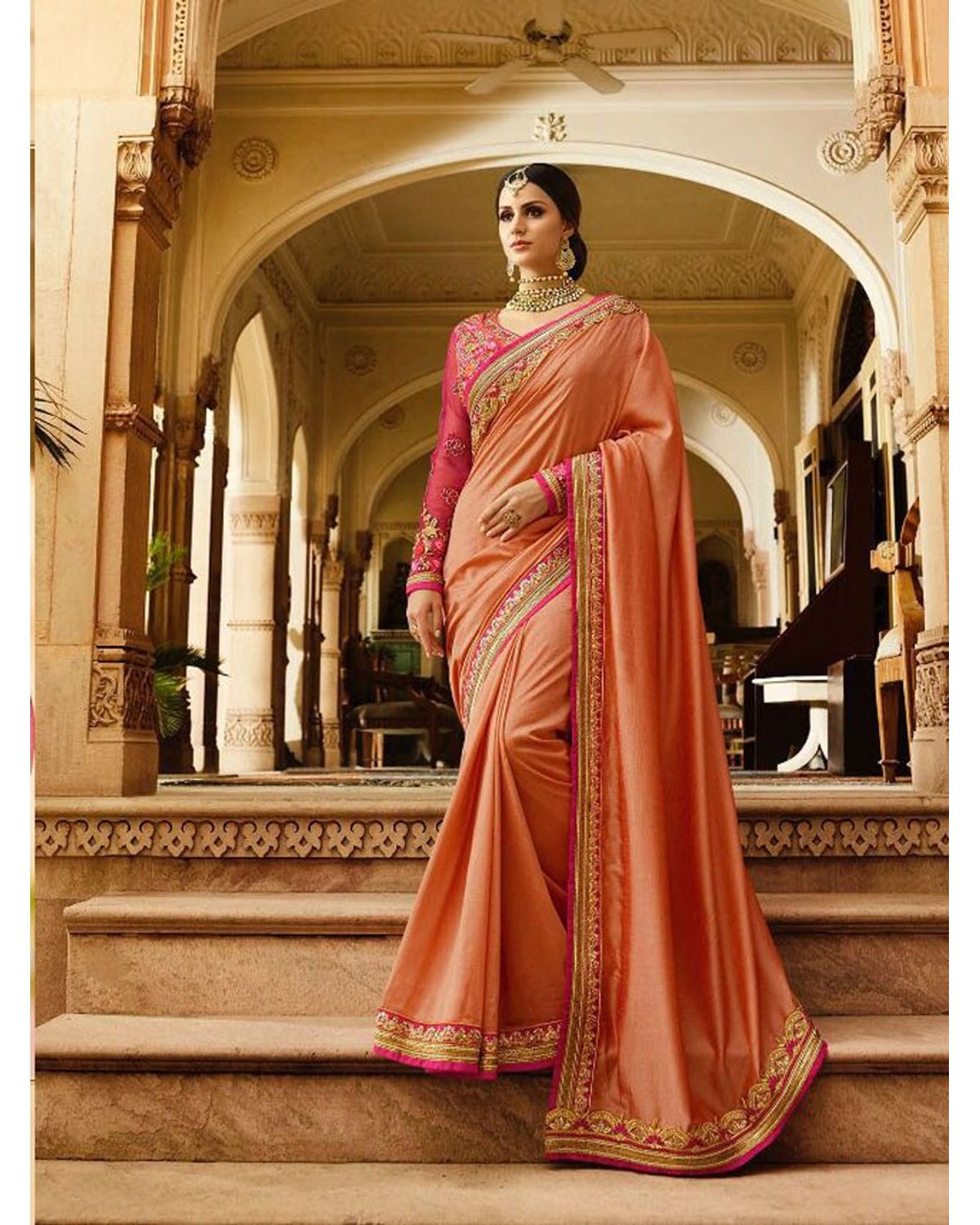 efd9a462895c5 Peach Art Silk Designer Saree With Heavy Embroidered Blouse ...