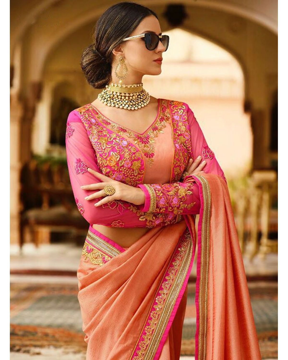 Peach Art Silk Designer Saree With Heavy Embroidered ...