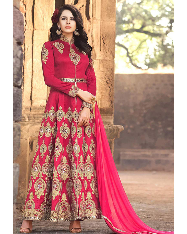 Pink Banarasi Silk Long Wedding Anarkali Suit | Deesbel001 | Dees Alley
