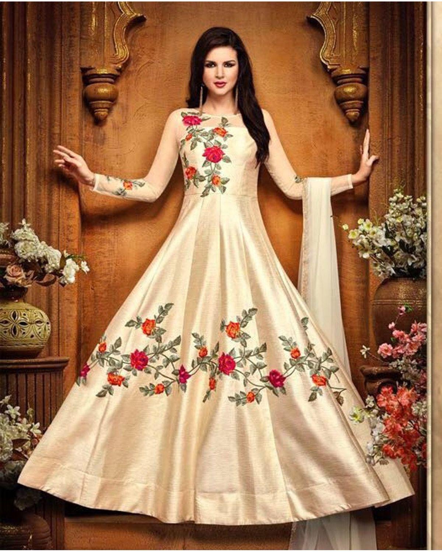 Cream Color Indowestern Long Anarkali Gown Salwar Suit   Deesbel001b
