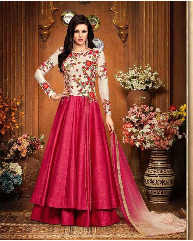 Magenta Color Indowestern Long Anarkali Gown Salwar Suit | Deesbel001a