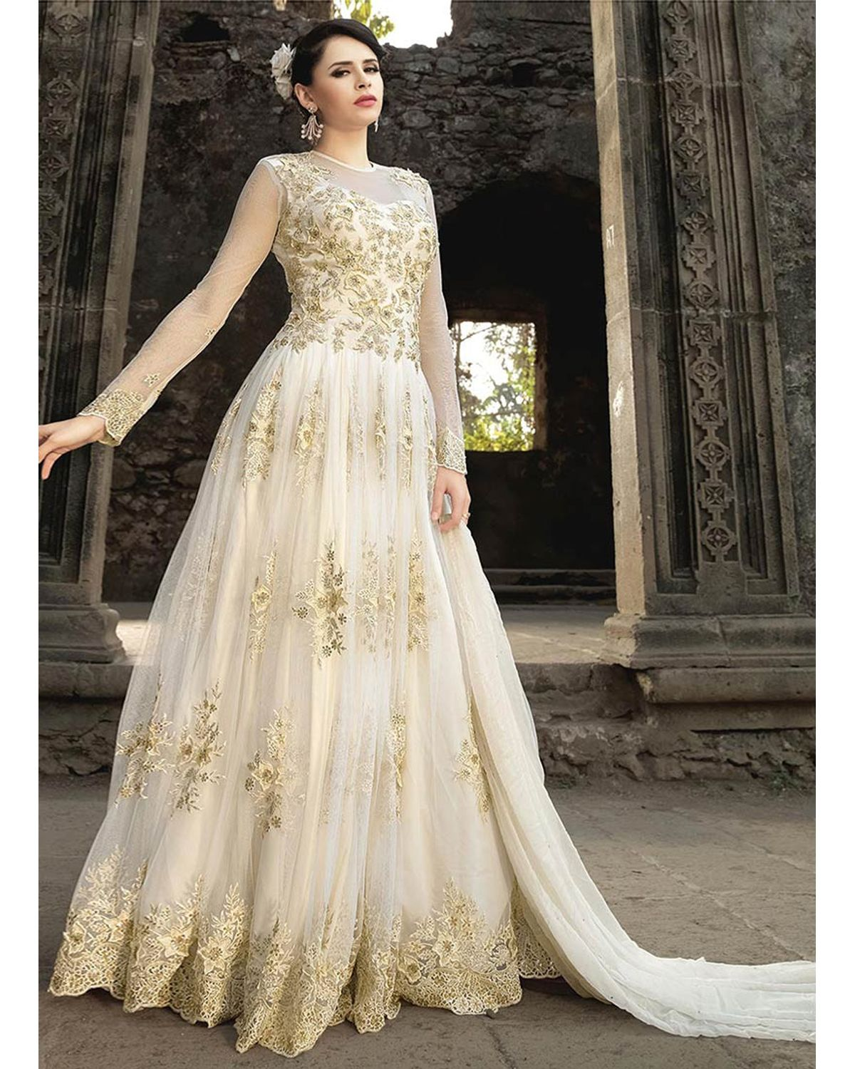 White Net Indowestern Anarkali Gown Suit | Deesindw18