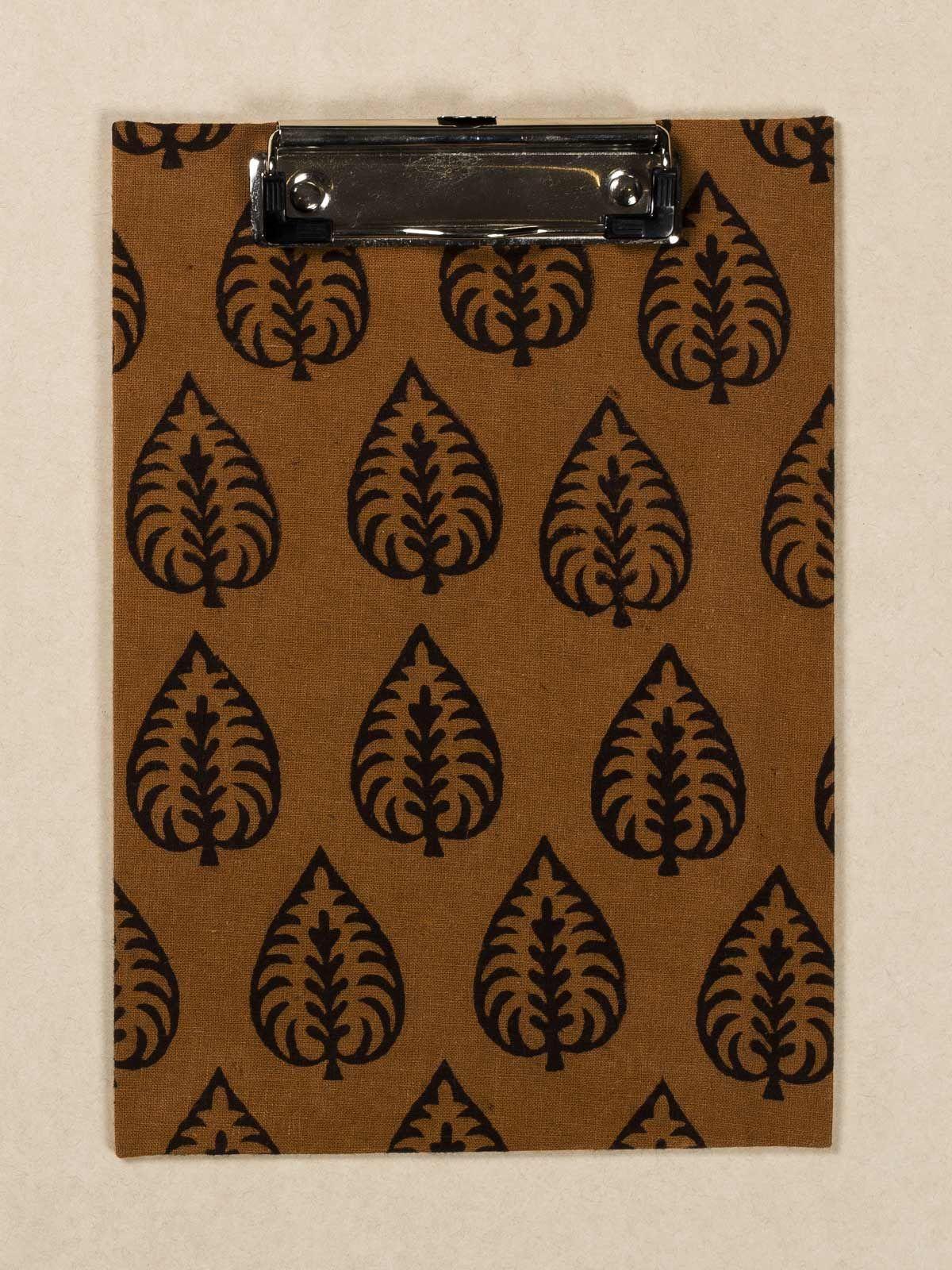 Mustard Block Print Fabric ClipBoard