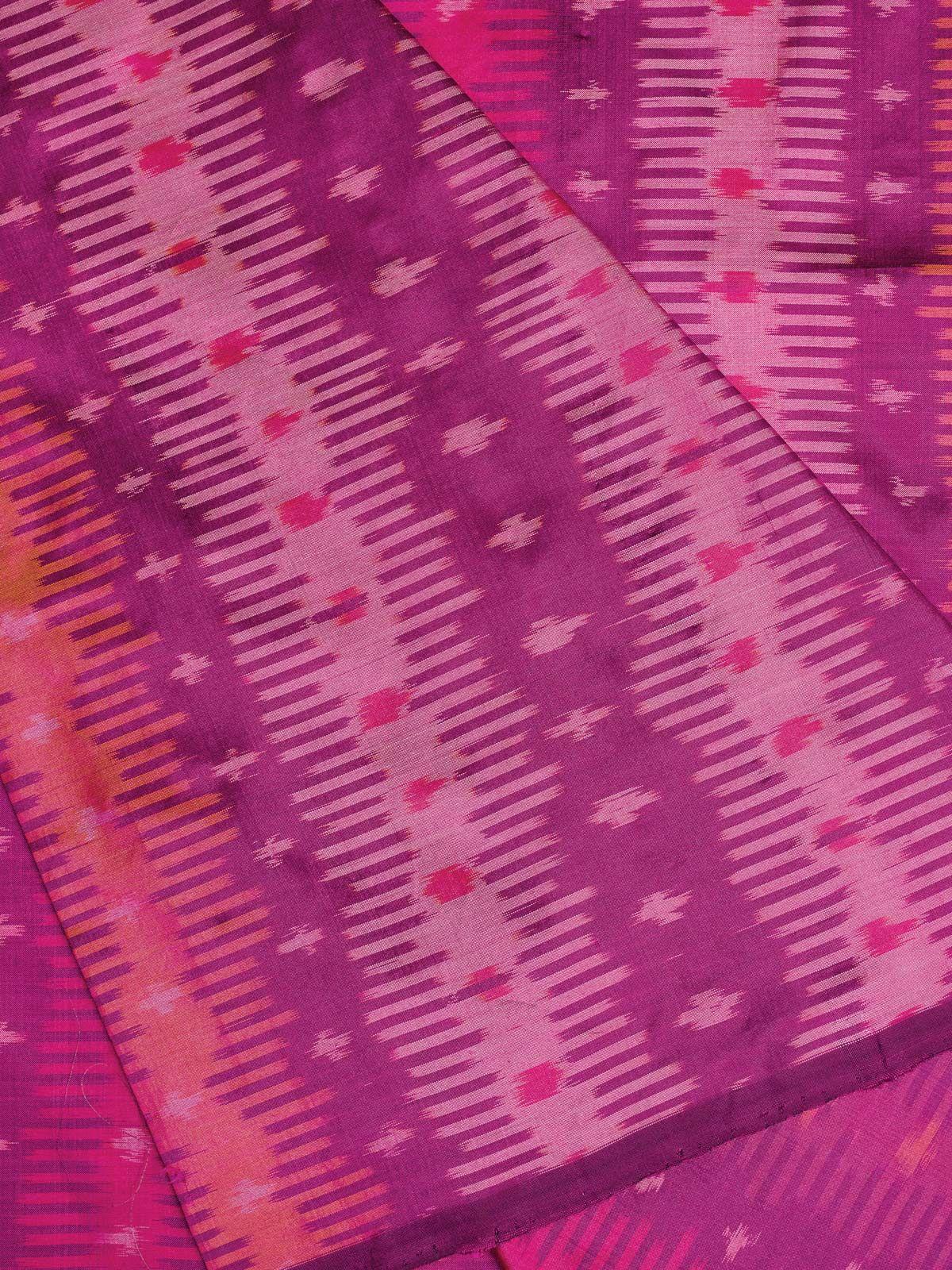 Magenta Ikat  Silk Fabric
