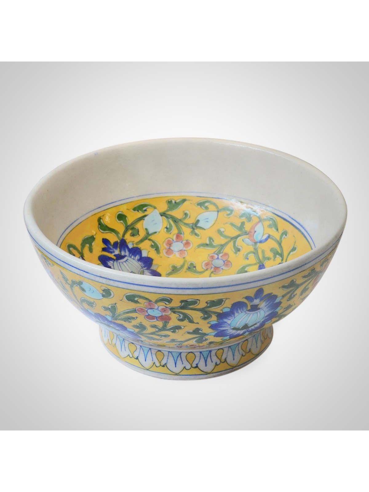 Yellow Ceramic Bowl - 10 Inches Diameter