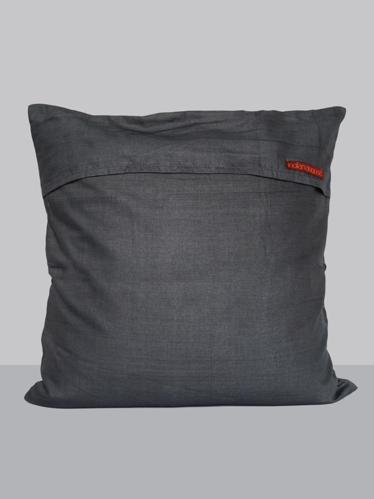Grey cotton silk kantha cushion cover