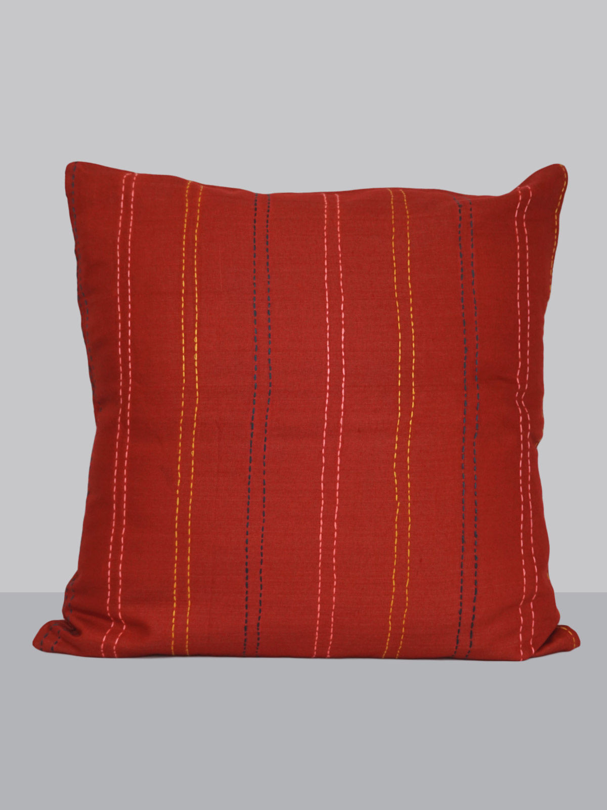 Red cotton-silk kantha embroided cushion cover