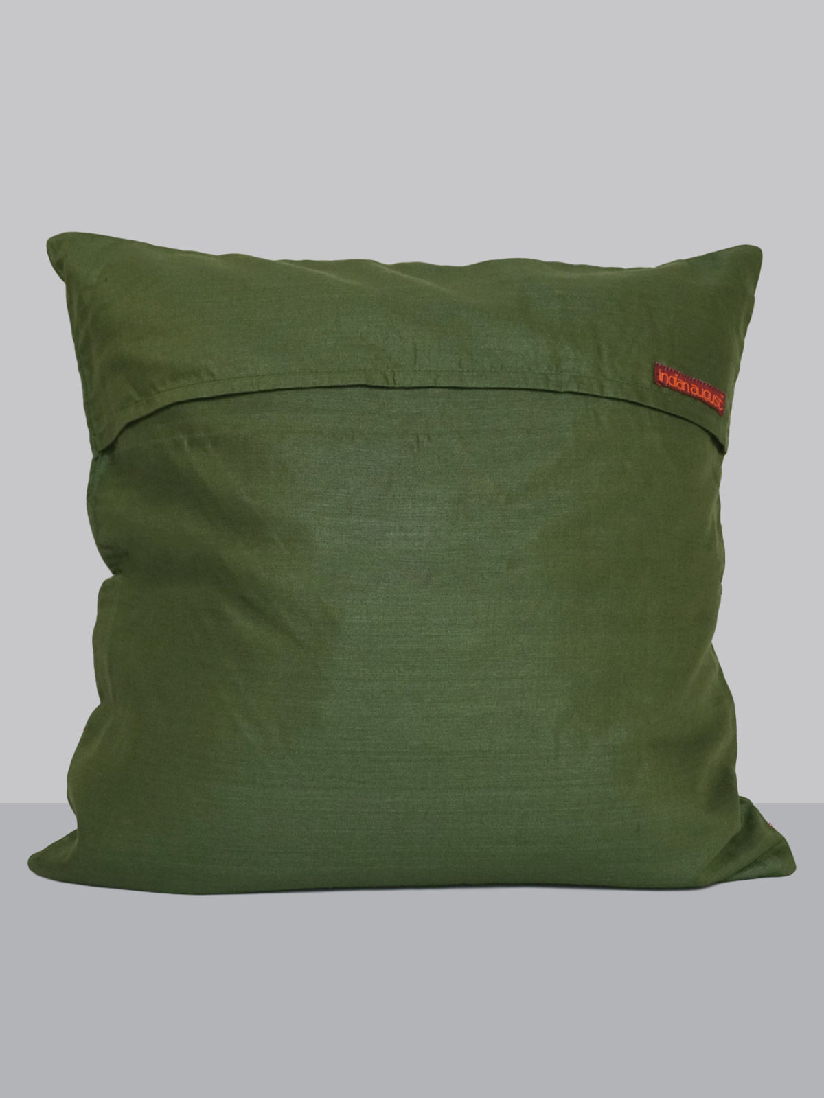 Green cotton-silk kantha embroided cushion cover