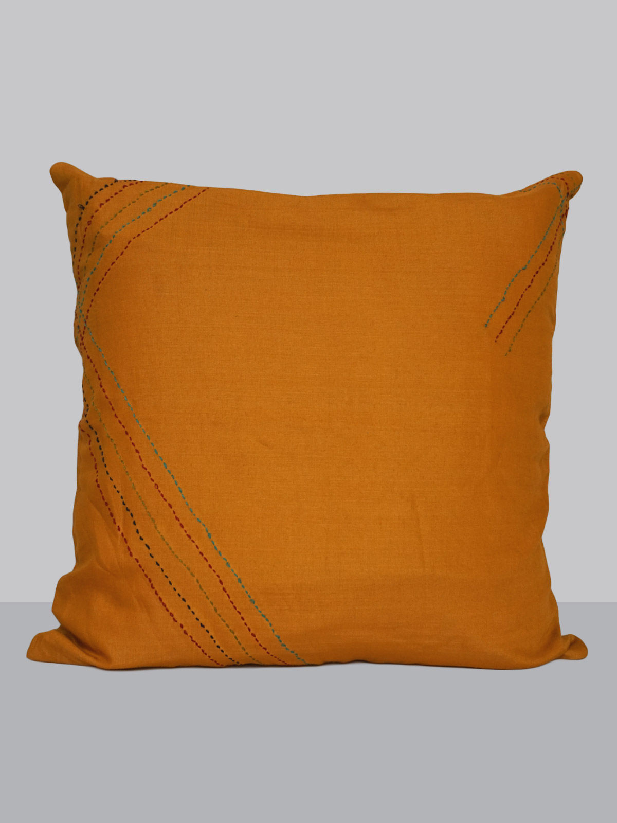 Orange cotton-silk kantha cushion cover