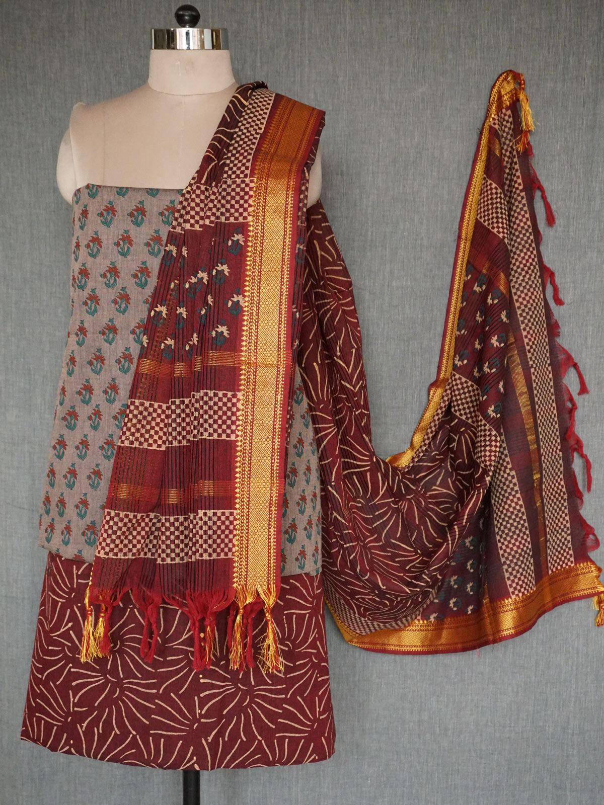 Multicolor mangalgiri dress material with dupatta
