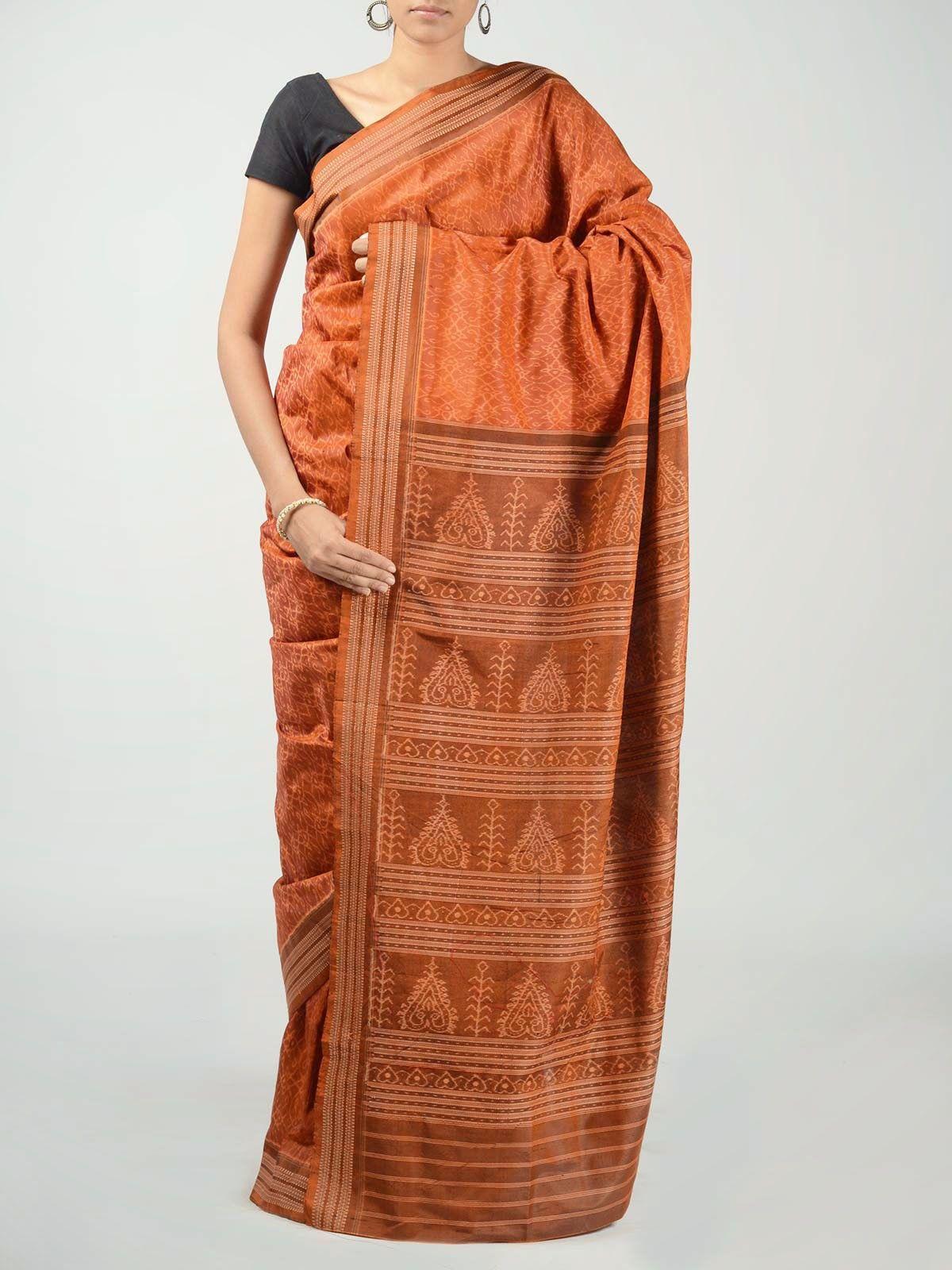 Brick Orange Ikat Saree