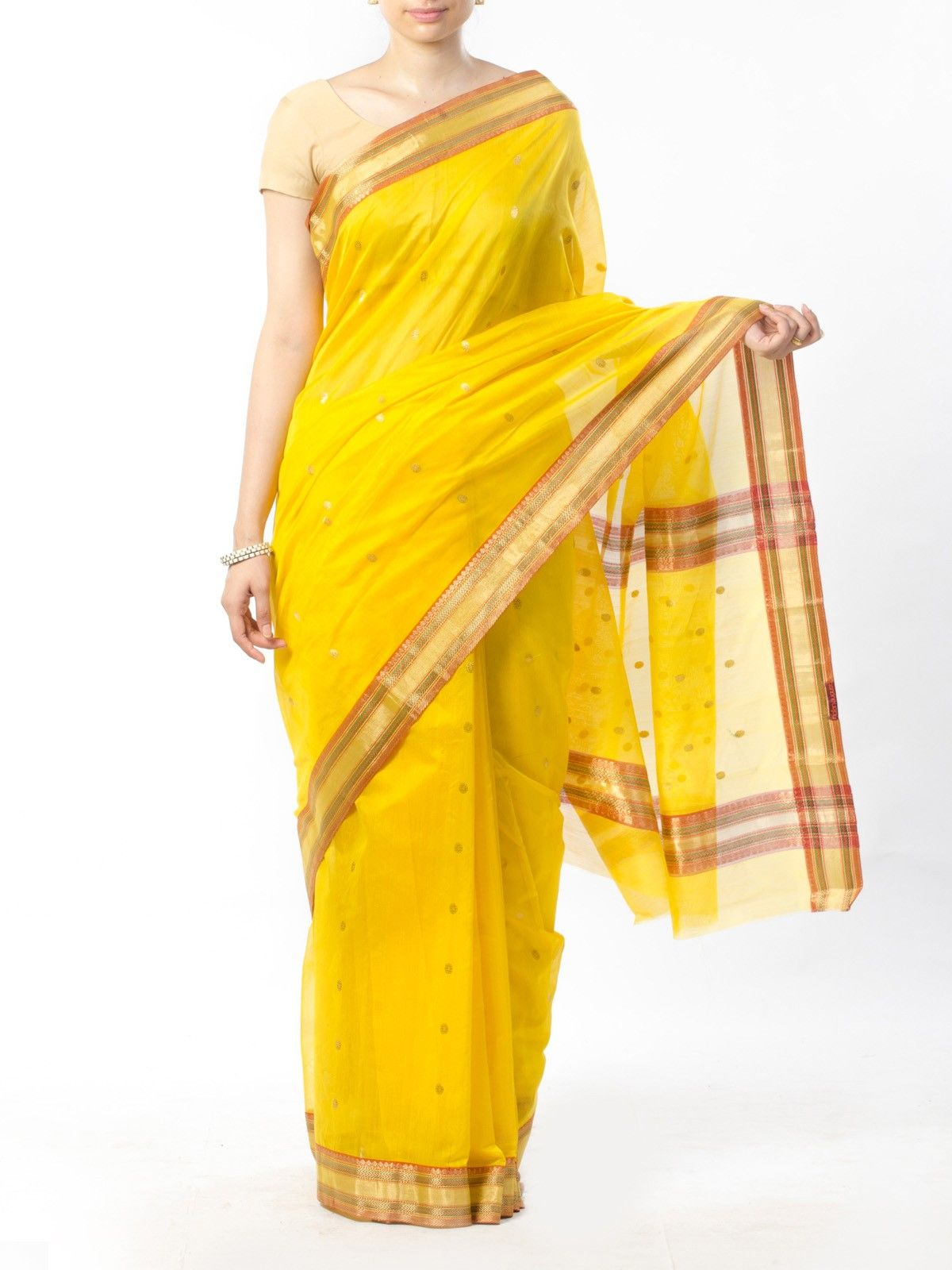 Yellow Chanderi Saree with Zari Work
