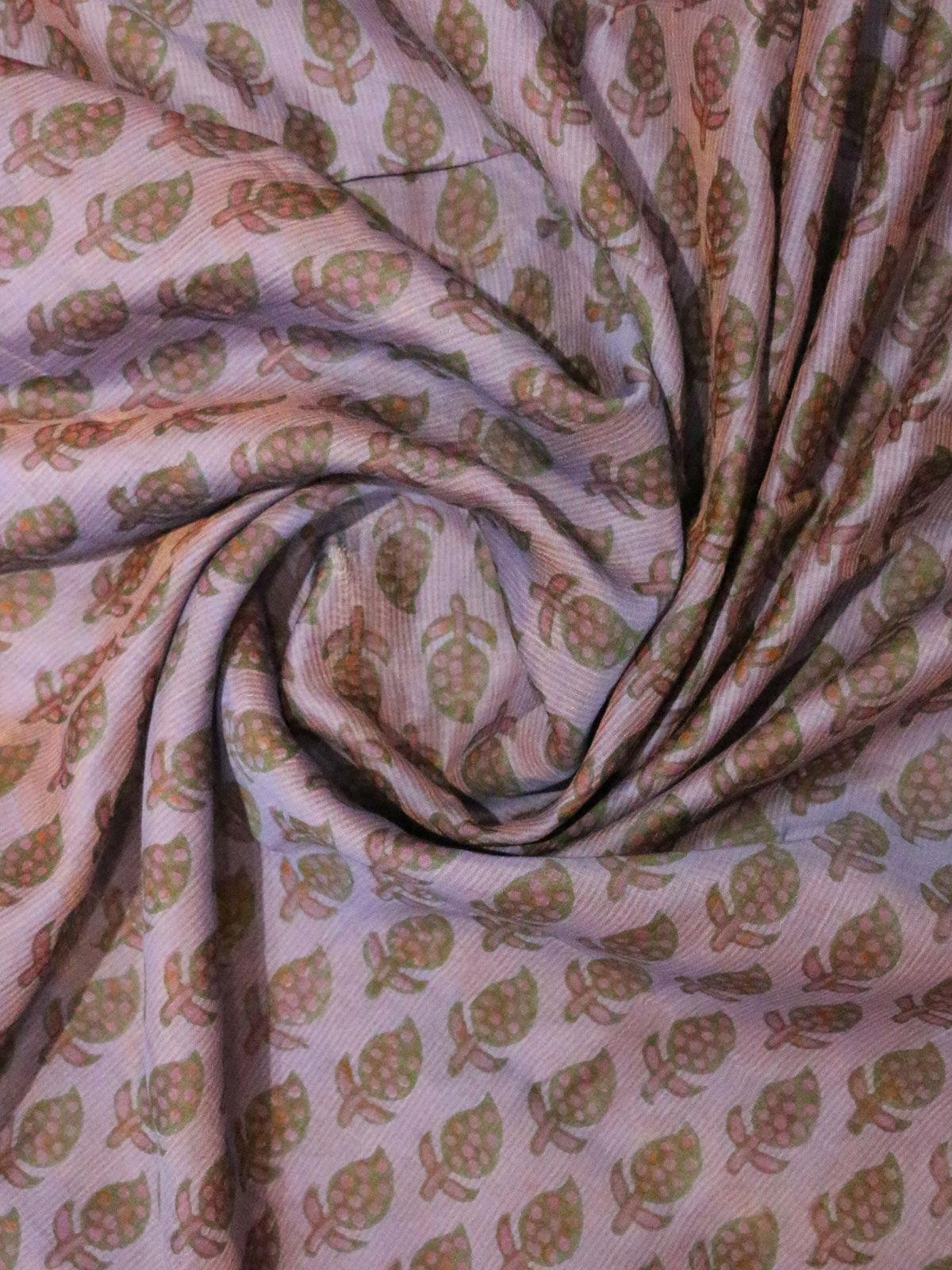 Purple color hand block maheshwari cotton fabric