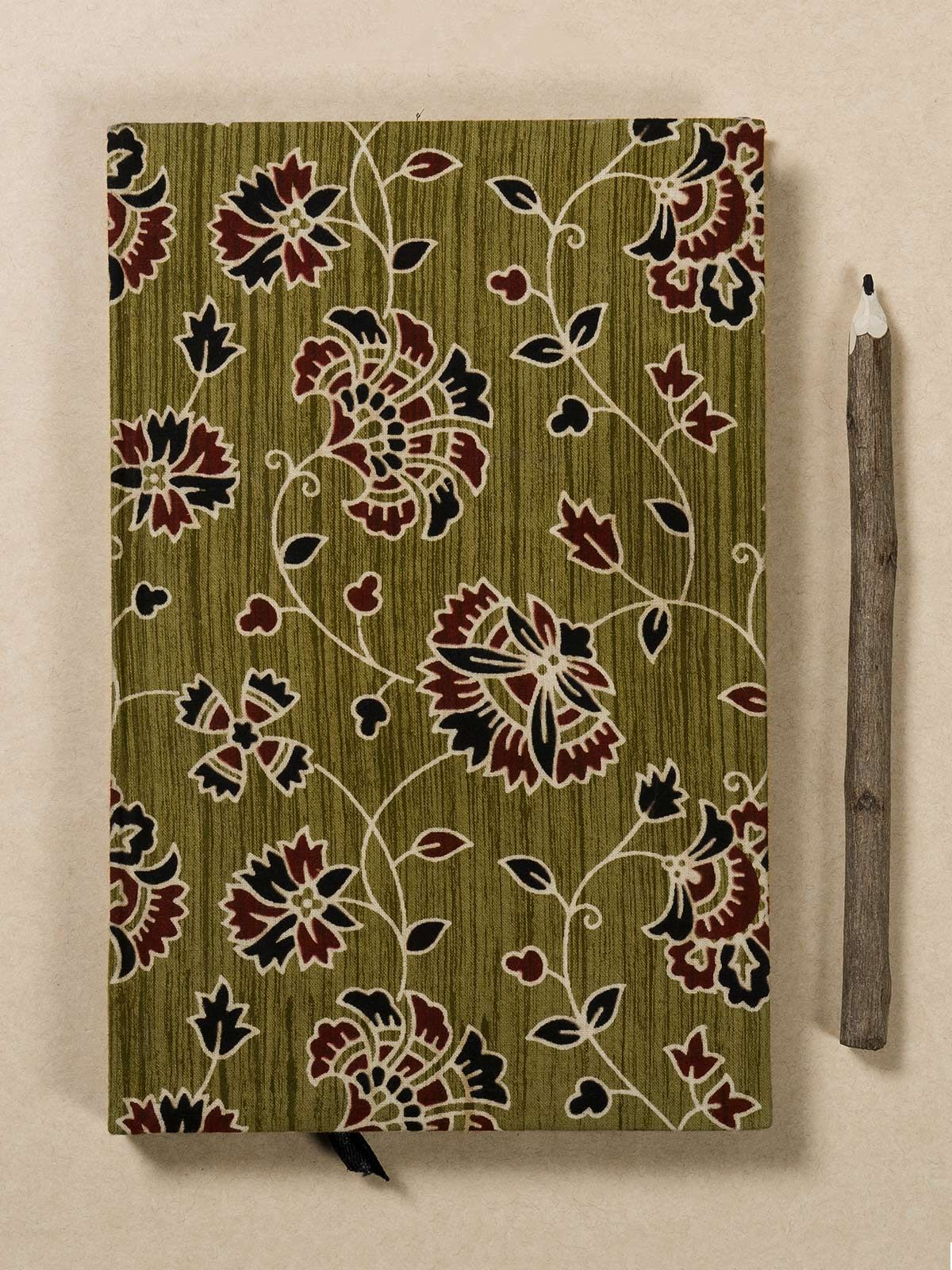 Sage Green Block Print Fabric Note Book