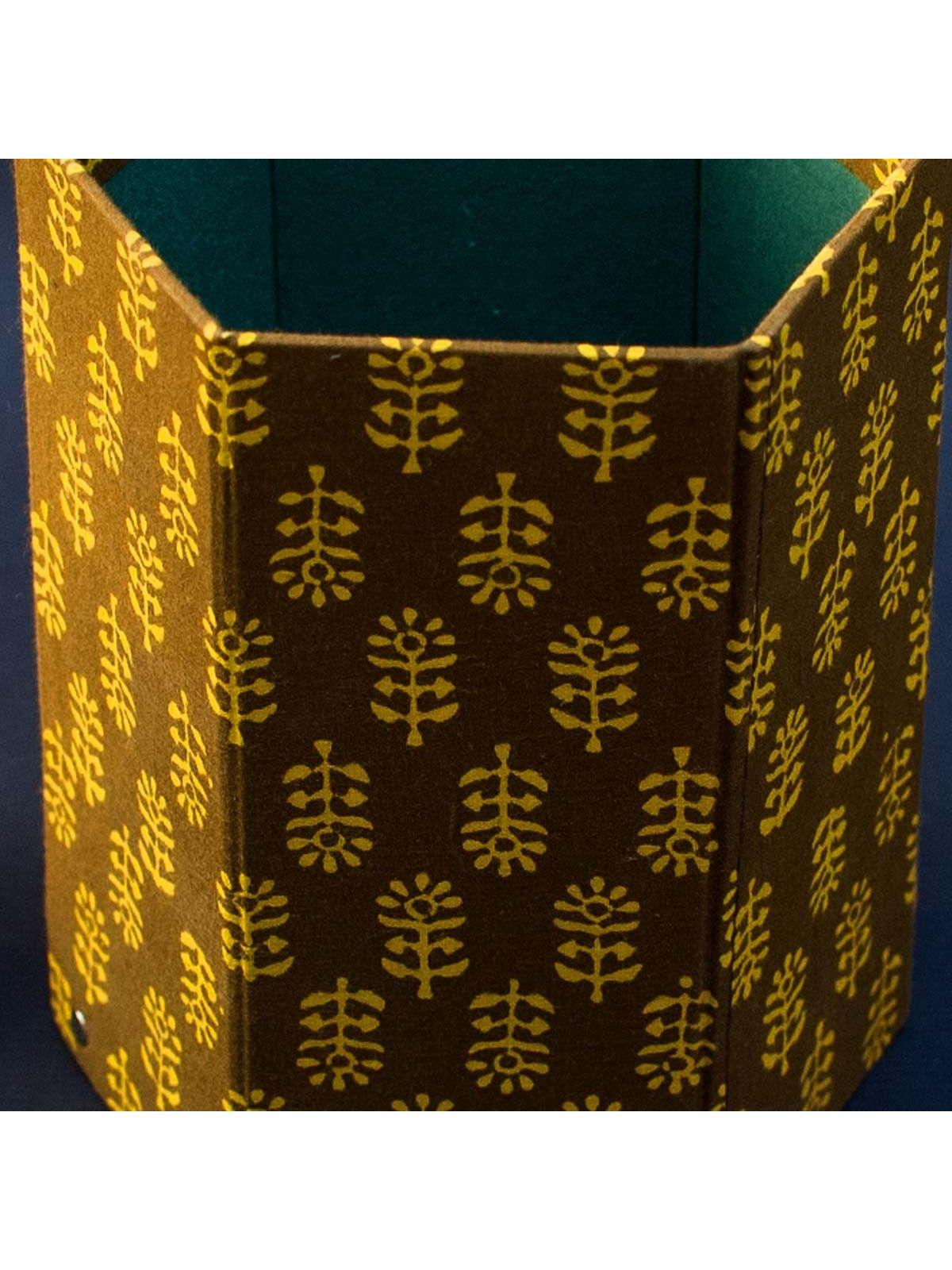Green Printed Fabric Cover Bin - 8 x 6.5 Inch