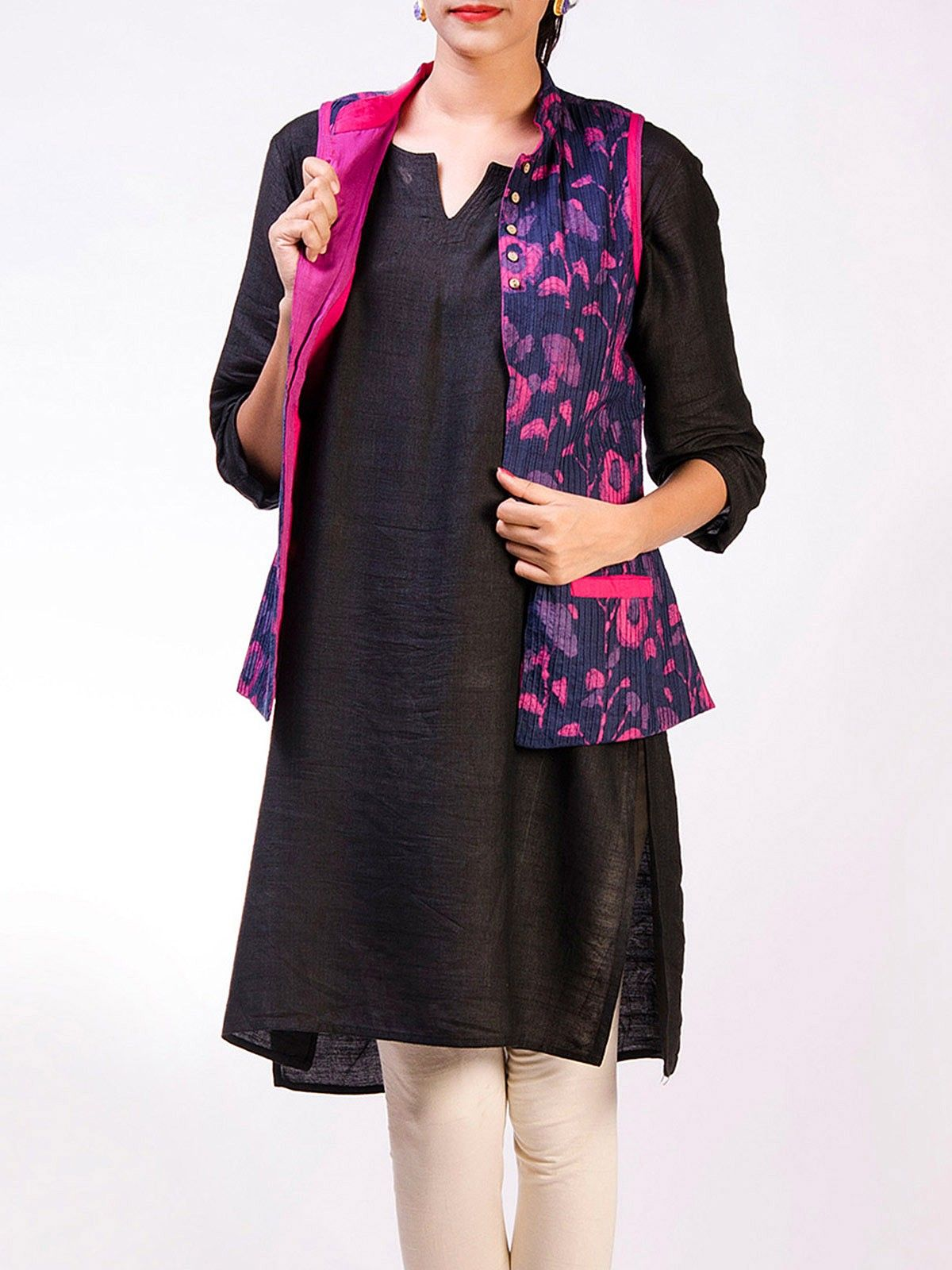 Purple cotton hand block printed sleveeless pintuck Jacket