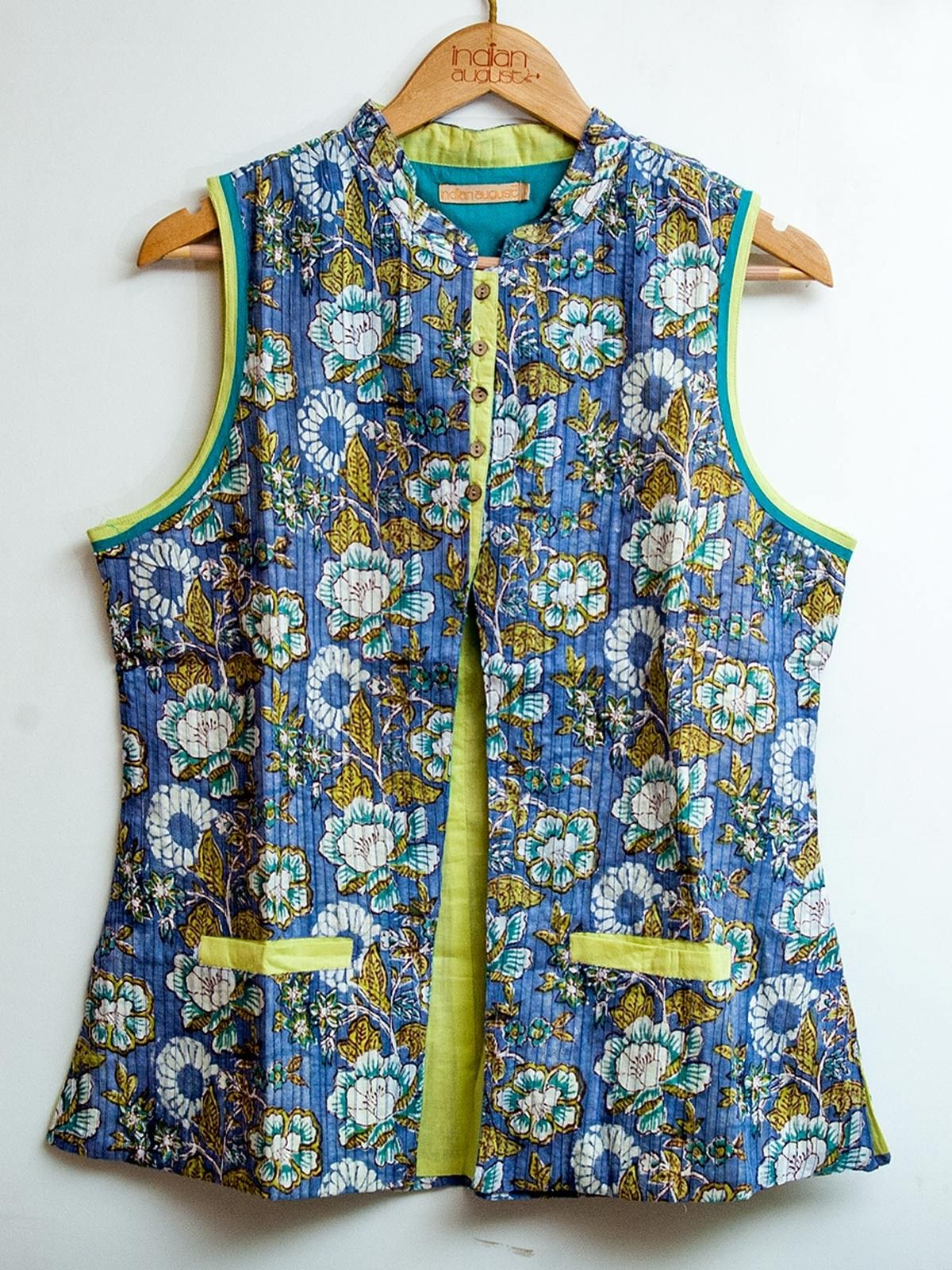Multicolor cotton hand block printed sleveeless pintuck Jacket
