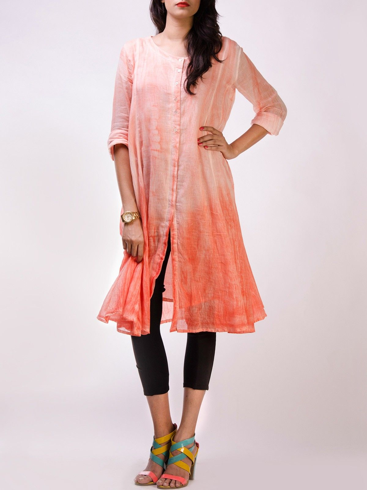 Orange Colored Ombre Dyed Cotton Tunic