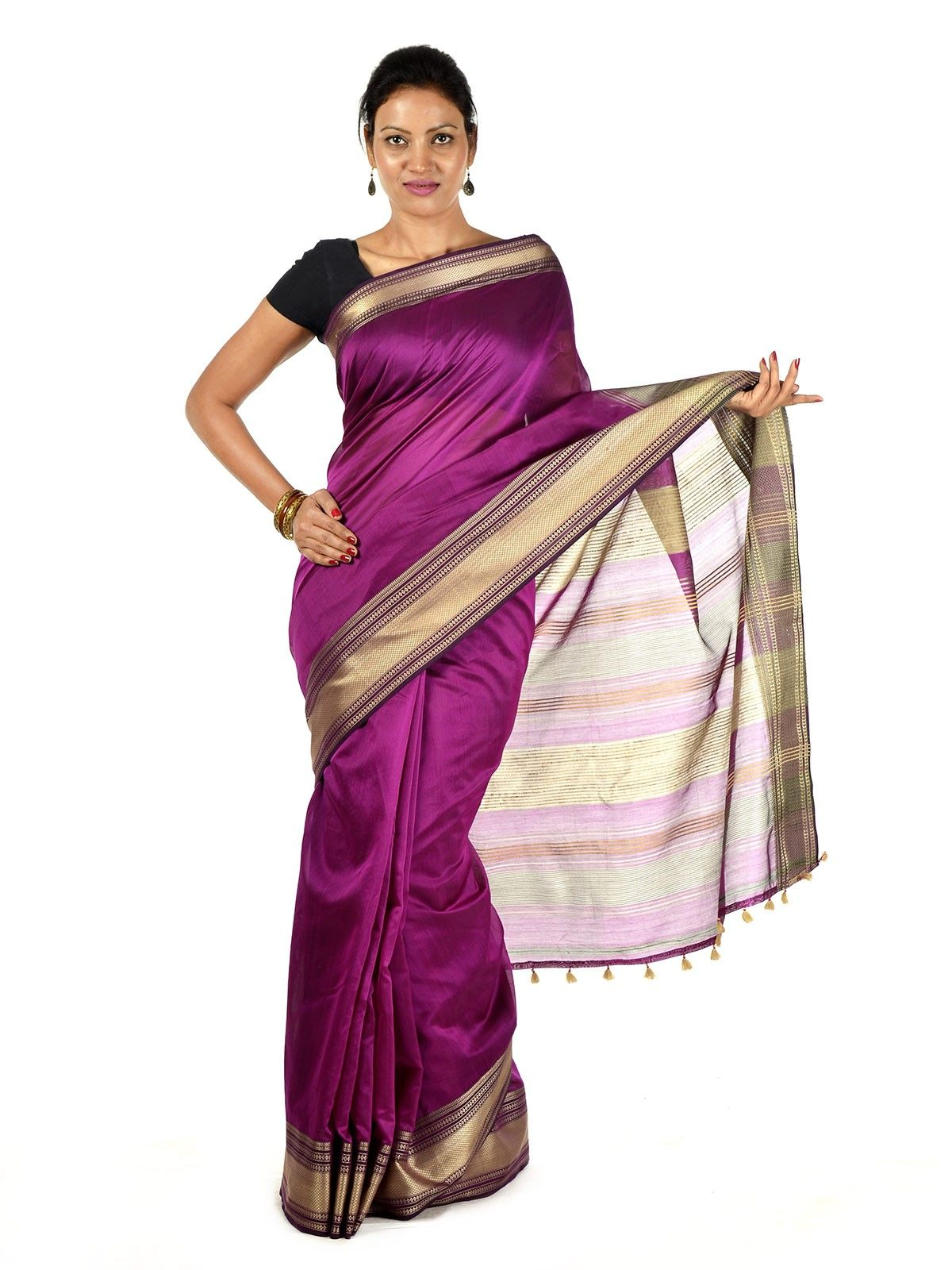 Rhodamine purple Maheshwari Saree