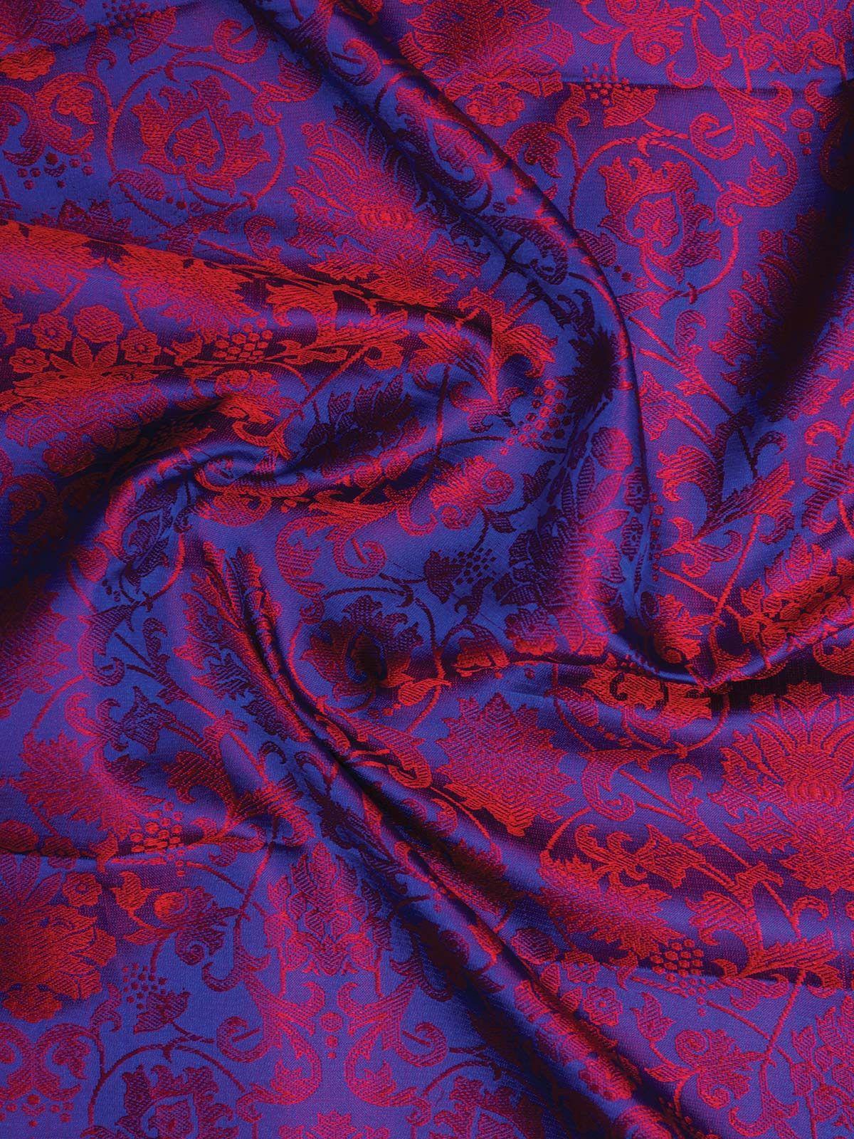 Magenta Banarasi Tanchoi  Silk Fabric