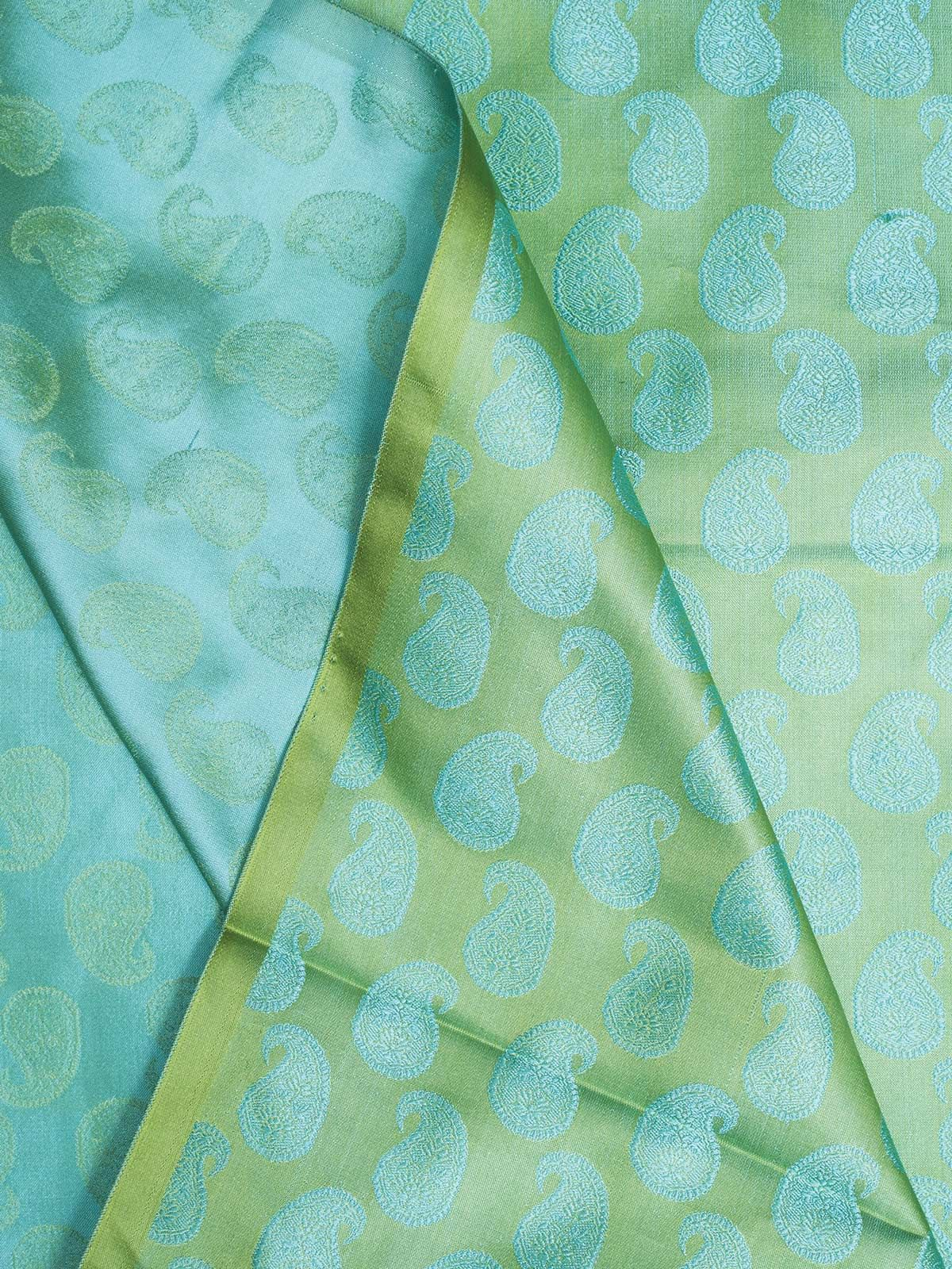 Green Banarasi Tanchoi  Silk Fabric