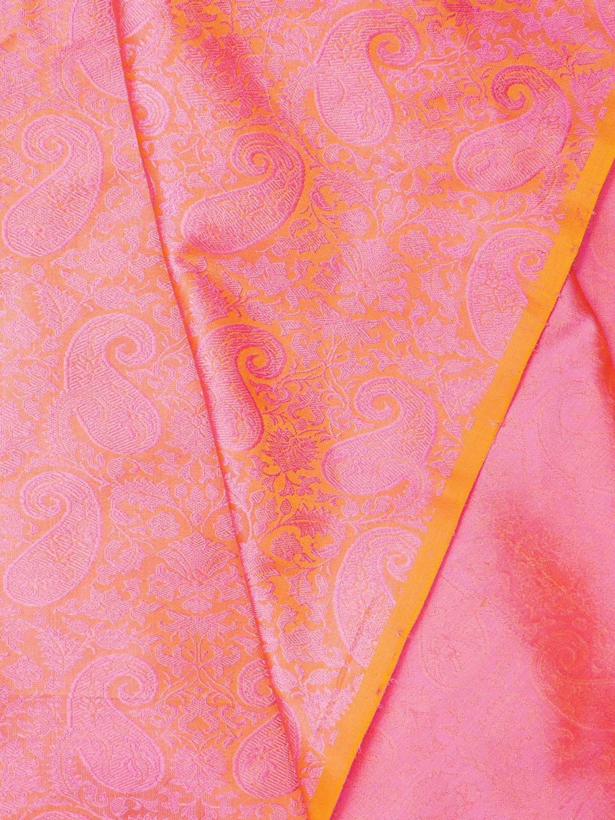 Pink Banarasi Tanchoi  Silk Fabric