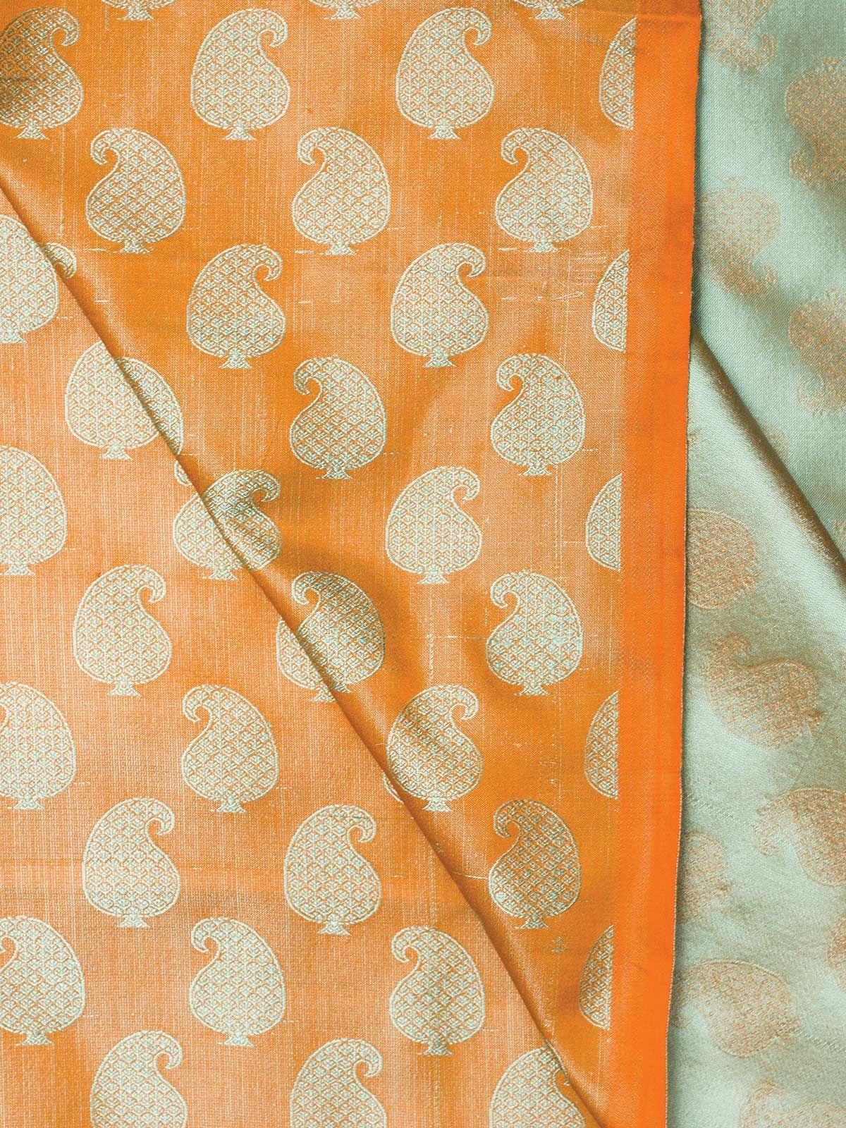 Green and Orange Banarasi Tanchoi  Silk Fabric