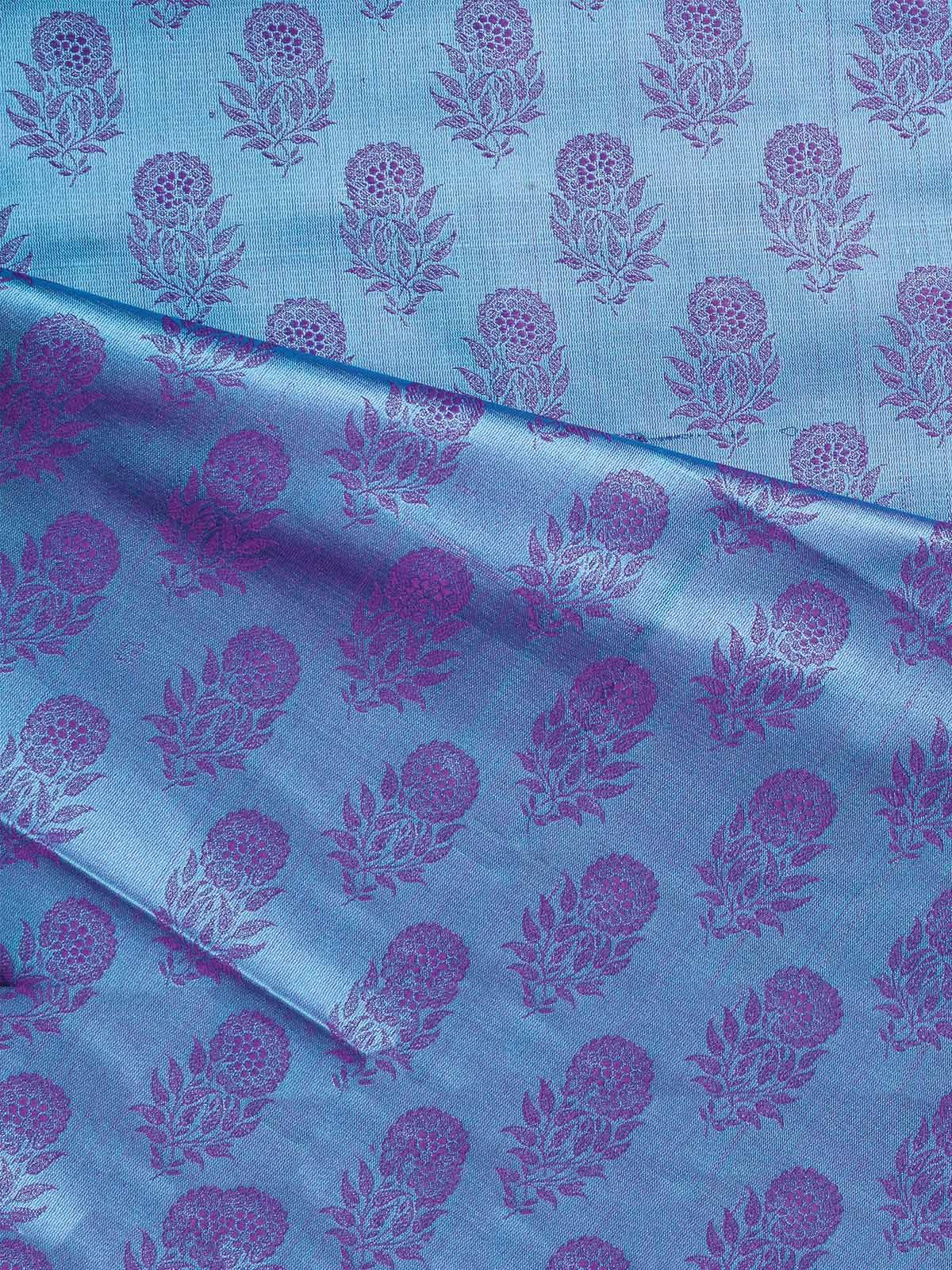 Blue Banarasi Tanchoi  Silk Fabric