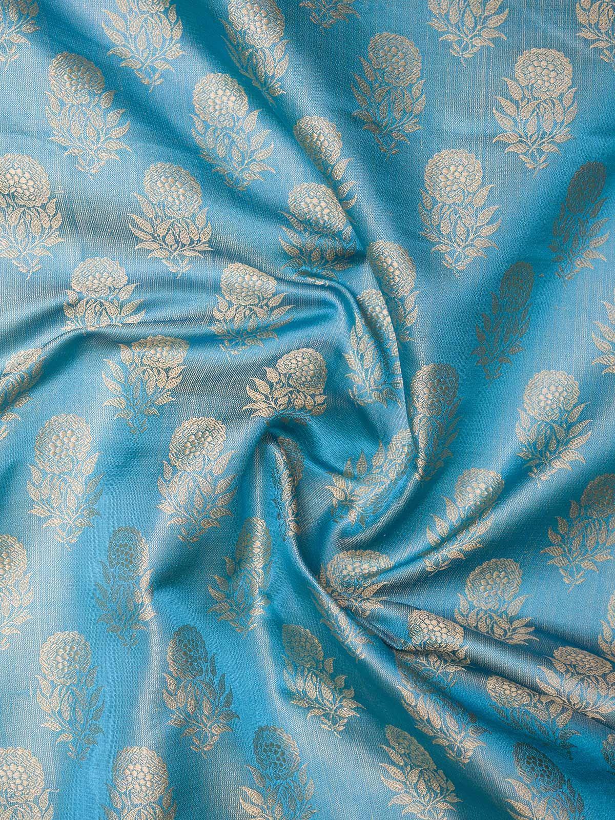 Blue and Grey Banarasi Tanchoi  Silk Fabric