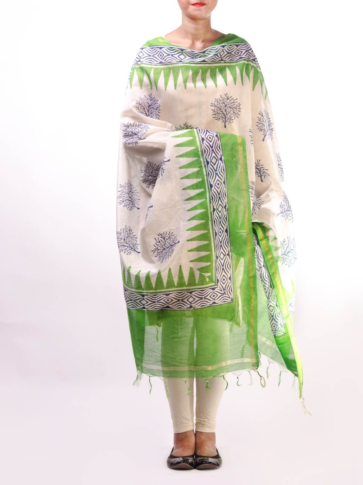 Green Chanderi Duptta