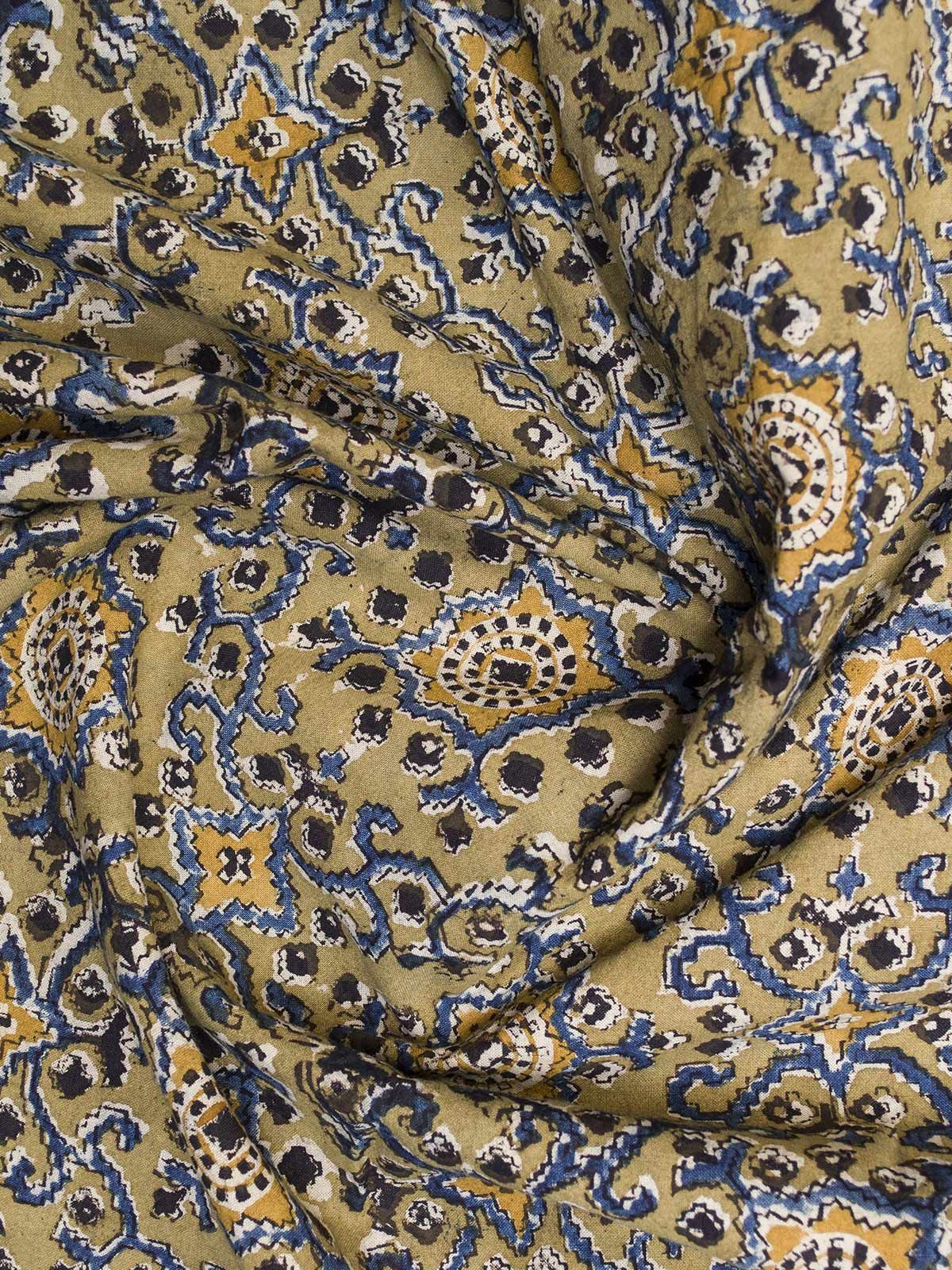 Olive and Blue Ajrak Block Print Cotton Fabric