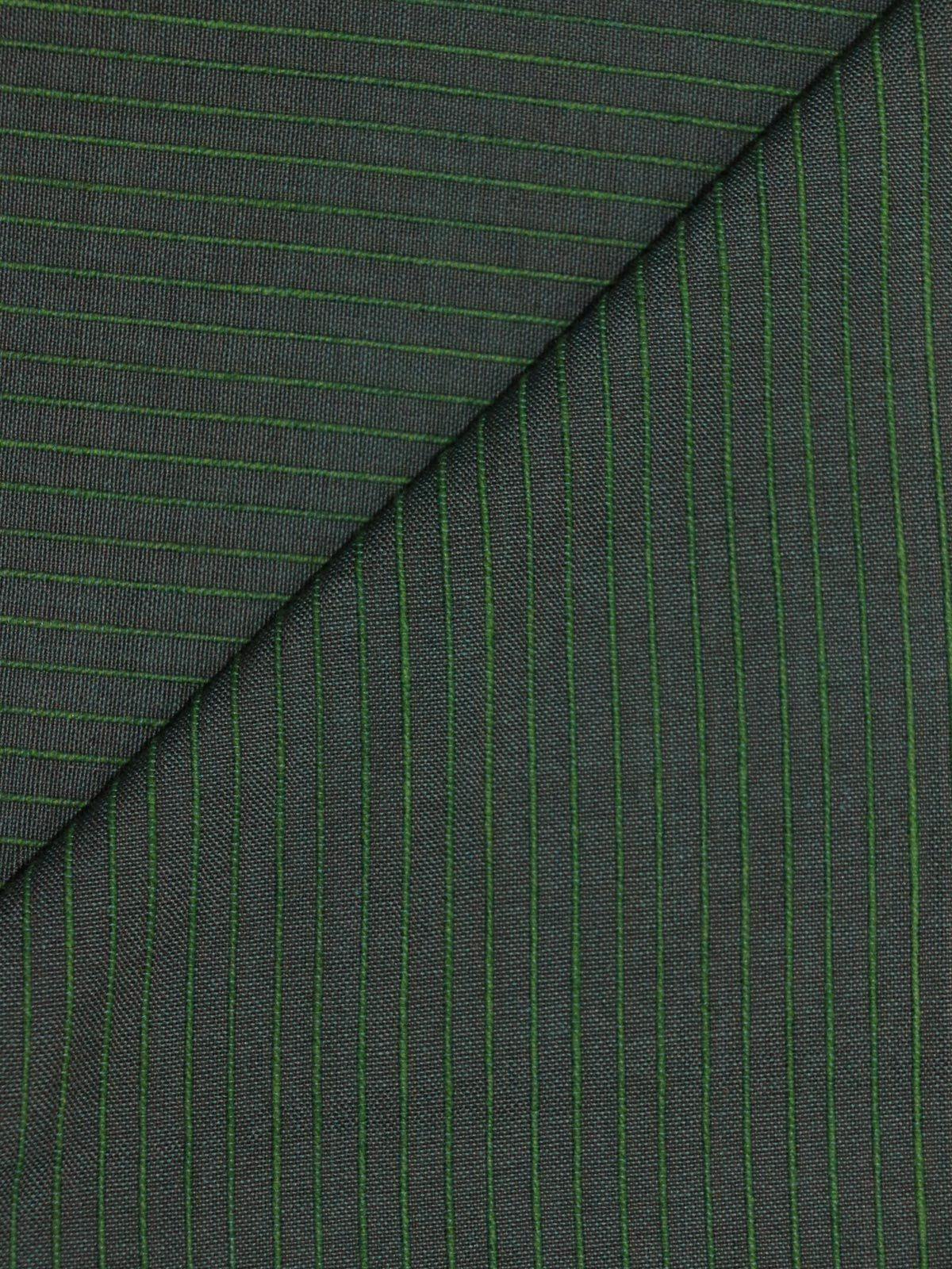Dark Green color mangalgiri stripes handloom cotton fabric