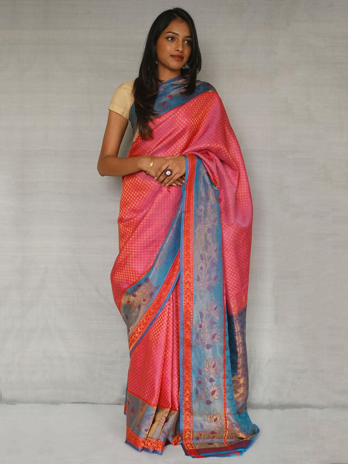 Pink and blue pure south silk kanji varam saree
