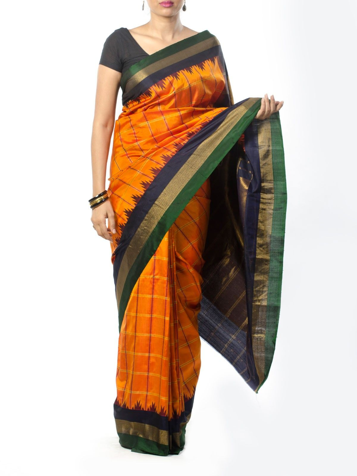 Orange Checkered Kanjivaram Saree with Temple Border