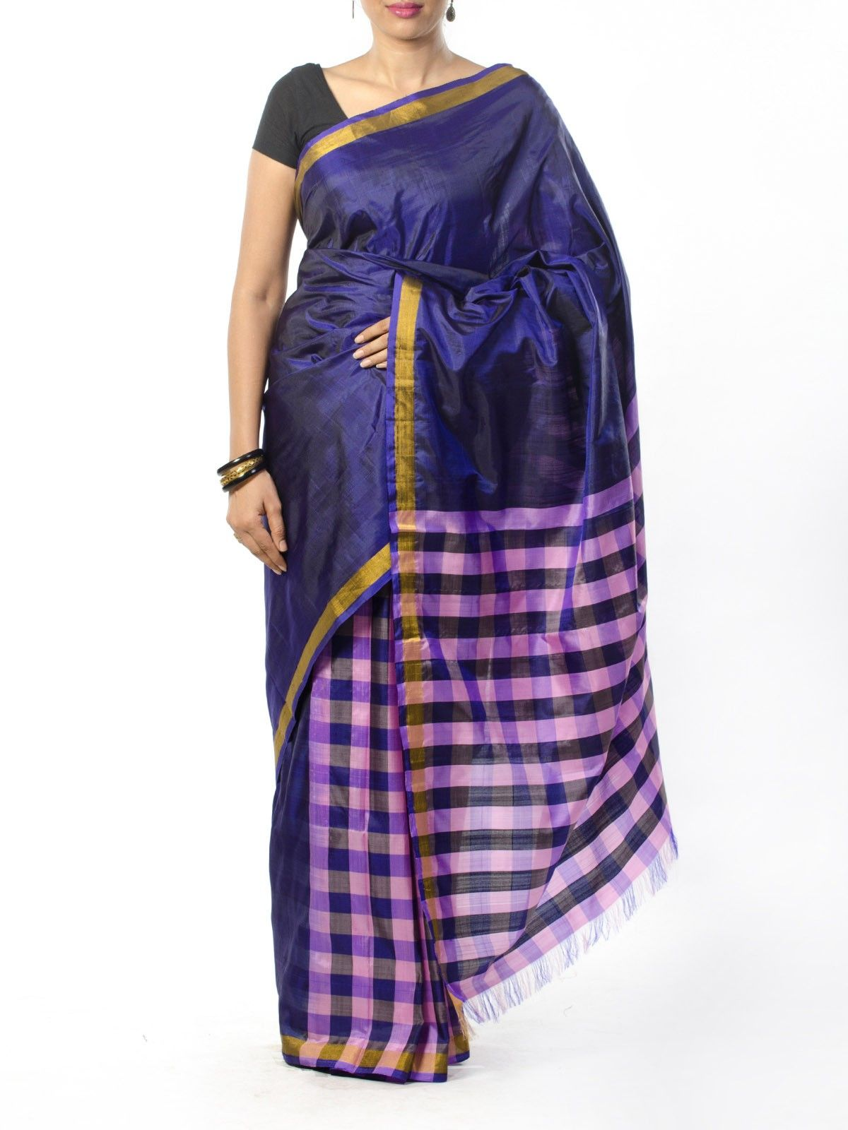 Purple Checkered Silk Saree
