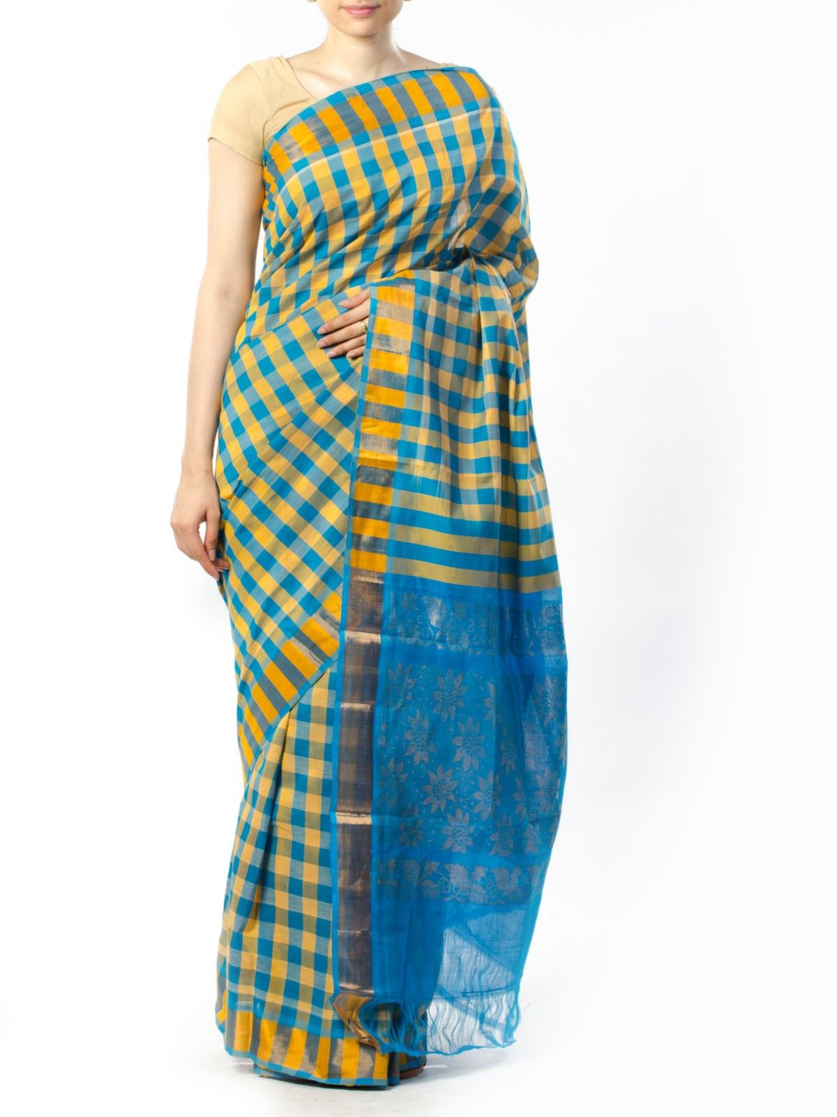 Blue and yellow checkered Silk Saree