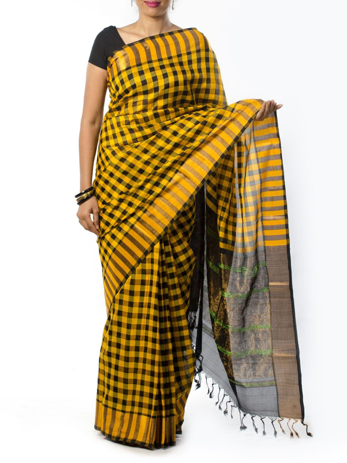 Black and yellow checkered Silk Saree