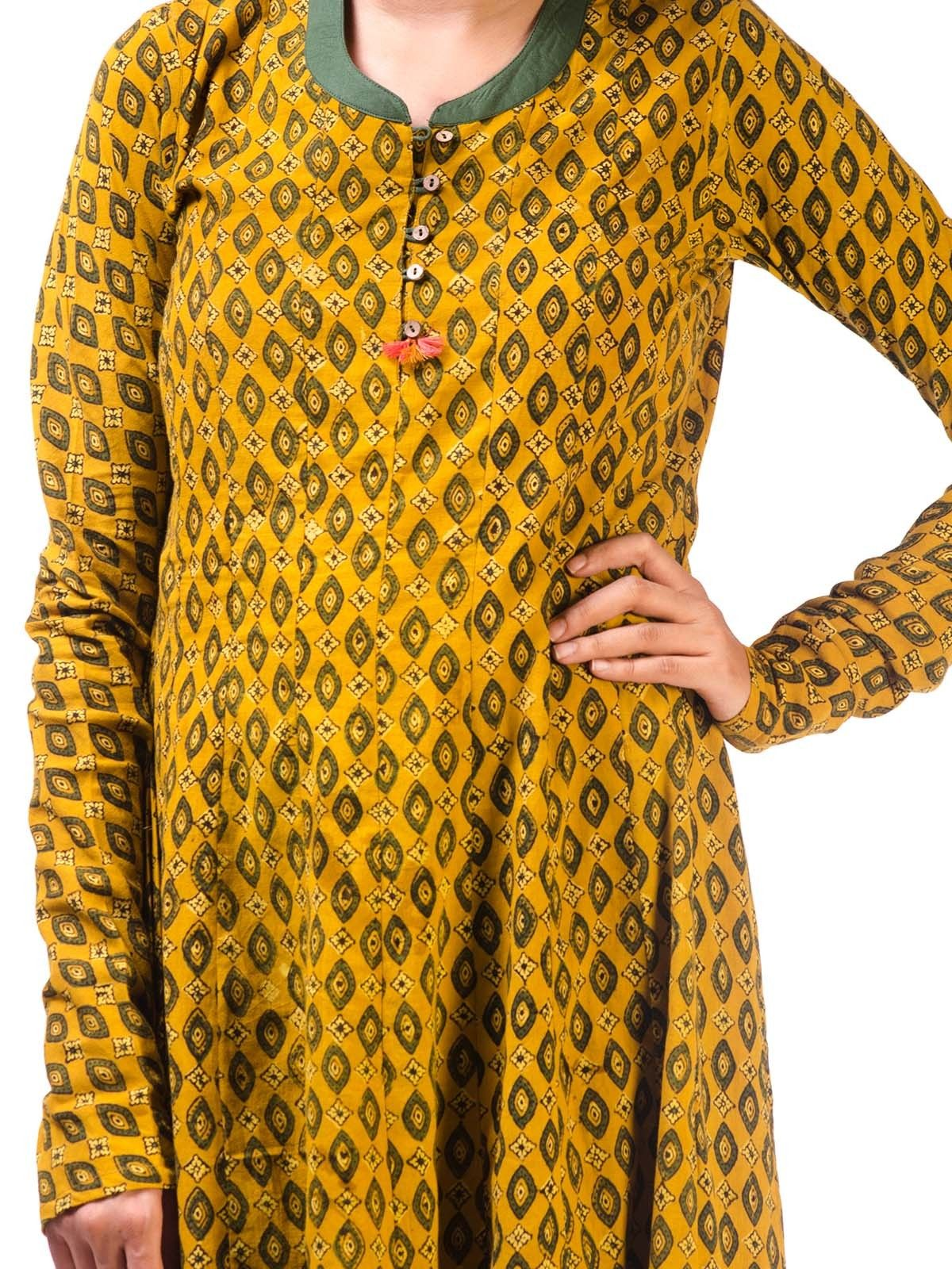 Yellow Ajrak Anarkali Kurta with Churidar Sleeves