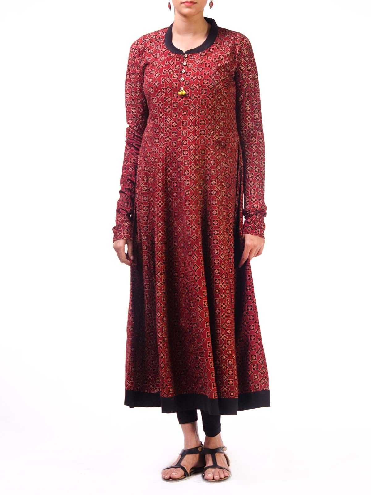 Maroon Ajrak Anarkali Kurta with Churidar Sleeves