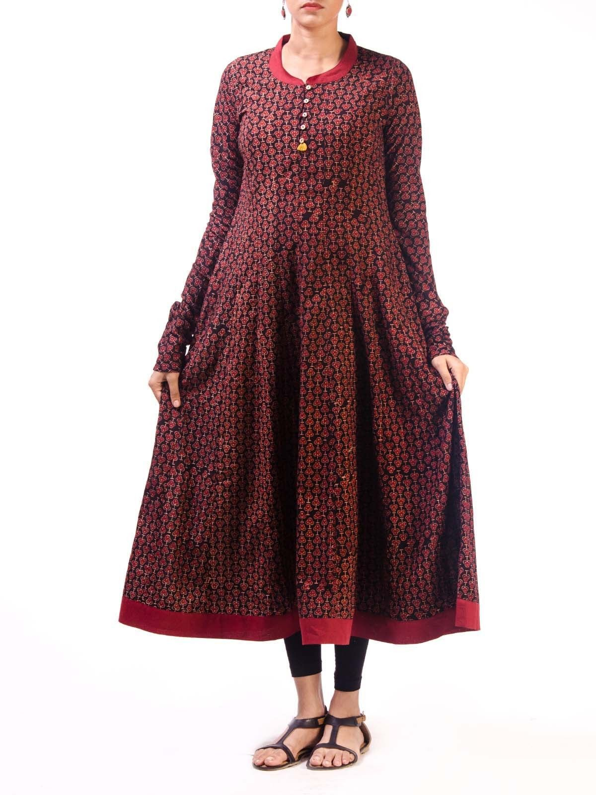 Black Ajrak Cotton Anarkali Kurta with Churidar Sleeves