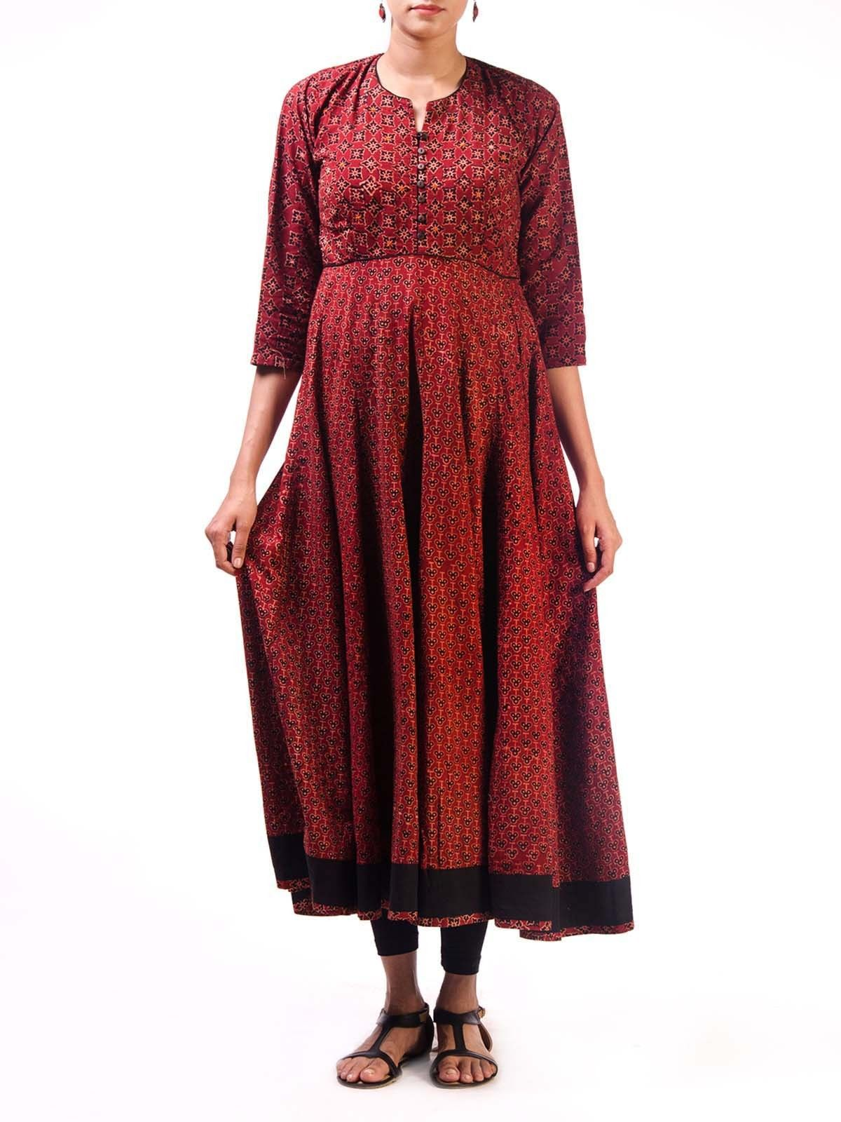 Maroon Ajrak Anarkali Kurta with Front Embroidery