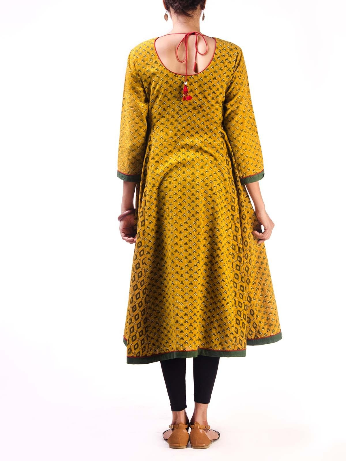Yellow Ajrak Anarkali Kurta with Side Panels