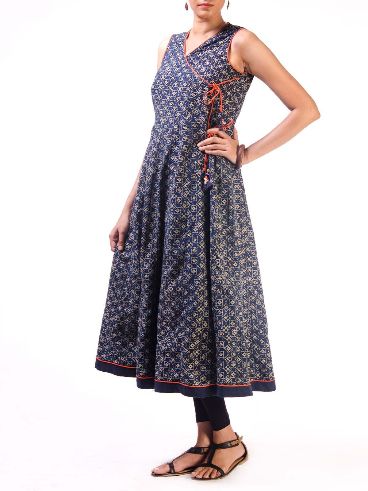 Blue Sleeveless Ajrak Cotton Anarkali Kurta with Tassel Details
