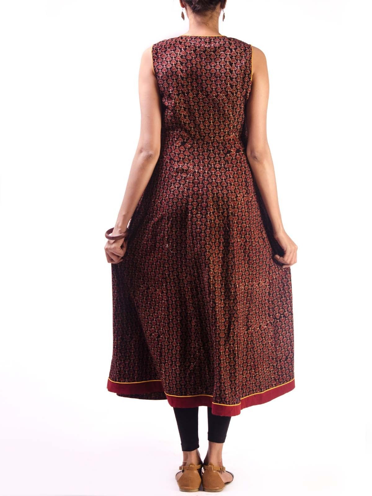 Maroon Sleeveless Ajrak Cotton Anarkali Kurta with Tassel Details