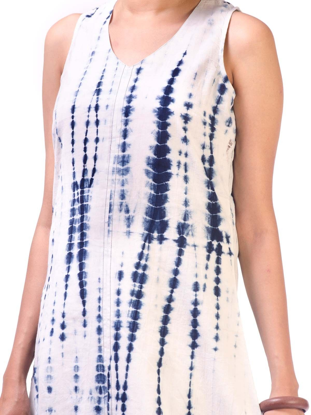 White-Indigo Block Printed Long Dress with Solid Border