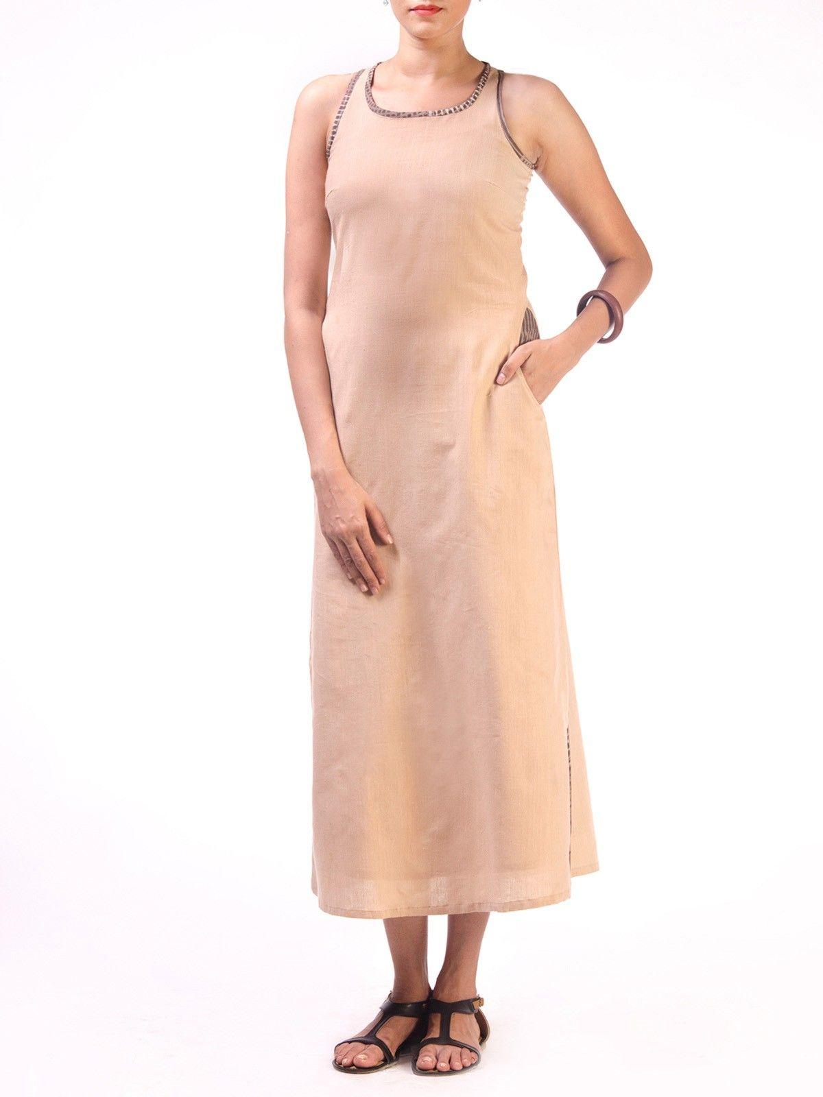 Beige Long Razerback Long Dress with Block Printed Pocket Detail